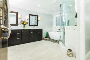 White Bathroom Brown Cabinets